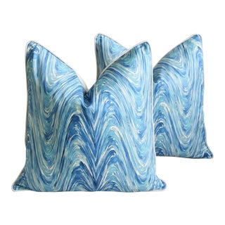 "Blue/White Marbleized Swirl Feather/Down Pillows 24"" Square - Pair For Sale"