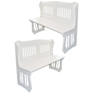 White Painted Benches - a Pair