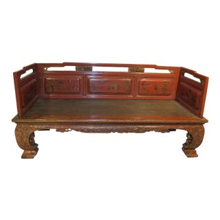 1900s Chinese Red Wooden Day Bed For Sale