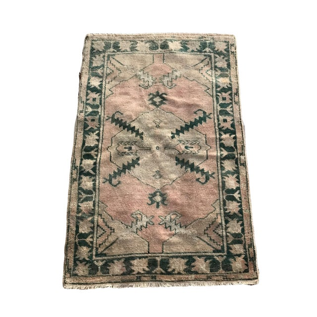 """Hand Made Vintage Tribal Turkish Runner Rug With Greens and Peach 2'9""""x4'2"""" For Sale - Image 10 of 10"""