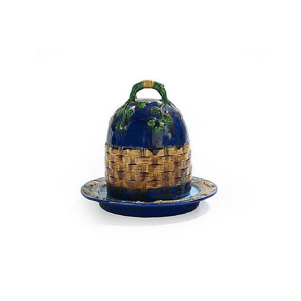 Antique; 19th century, English, majolica, covered cheese dish in the style of George Jones, the cover in the form of a...