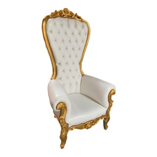 Louis XV Style Gold Throne Chair For Sale