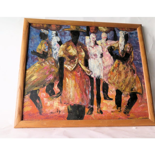 """1960s 1960s Abstract Oil Painting on Canvas, """"Jamaican Ladies"""" For Sale - Image 5 of 6"""