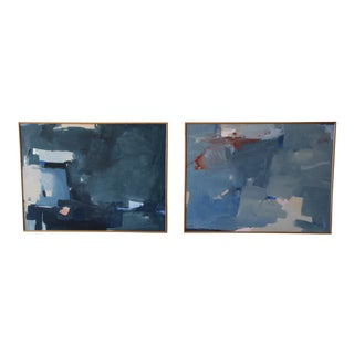 Antonio Angulo Mid-Century Abstract Paintings - A Pair For Sale