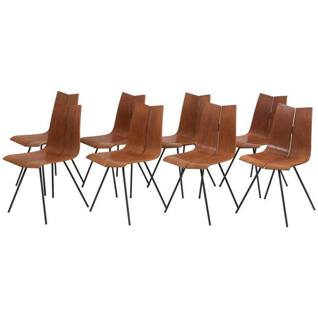 """Set of Eight """"Ga"""" Chairs by Hans Bellmann for Horgen-Glarus, Switzerland, 1950s For Sale - Image 9 of 9"""
