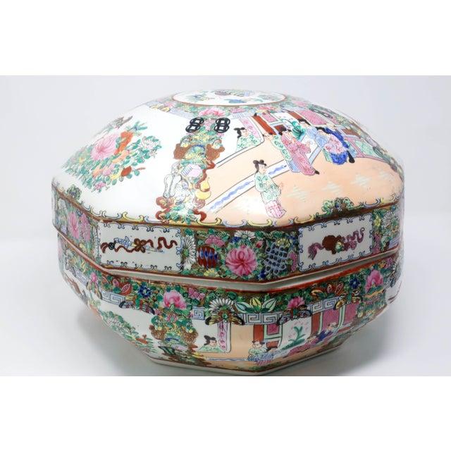 Asian Vintage Asian Famille Rose Medallion Octagonal Treasure Bowl For Sale - Image 3 of 12