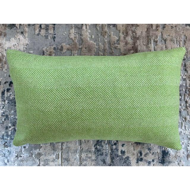 Contemporary Contemporary FirmaMenta Bright Green Herringbone Wool Lumbar Pillow For Sale - Image 3 of 3