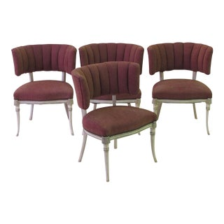 An Elegant Set of 4 Grosfeld House 1940's Ivory Painted and Parcel-Gilt Side/Game Chairs For Sale
