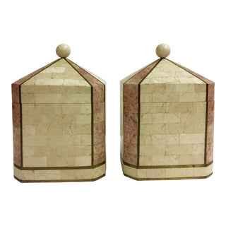1980s Art Deco Maitland Smith Tessellated Domed Boxes - a Pair