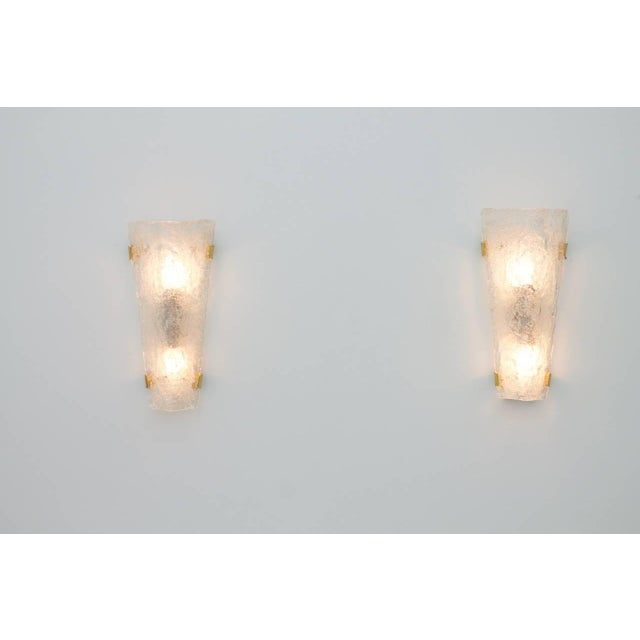 Brass Pair of Hillebrand Brass and Glass Wall Sconces, 1965 For Sale - Image 7 of 7