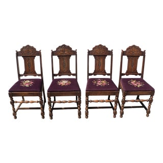 19th Century Gothic Chairs With Purple Embroidered Seats - Set of 4