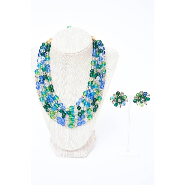 Elsa Schiaparelli Glass Strand Necklace & Clip on Earrings Set of Vintage For Sale - Image 10 of 11
