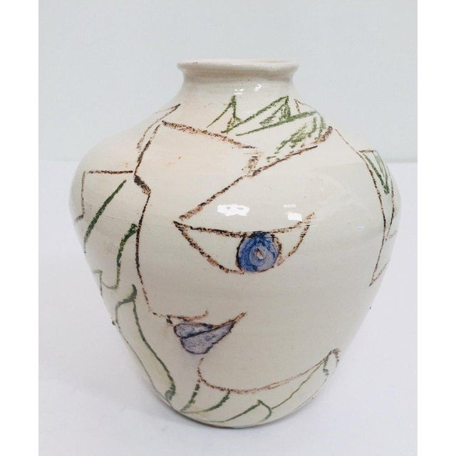 Postmodern Vase With Abstract Head Portraits Figures in Jean Cocteau Style For Sale In Los Angeles - Image 6 of 11