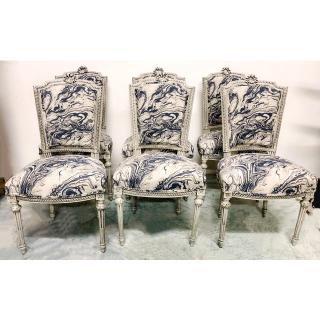 Textile Set of 6 Antique French Dining Chairs For Sale - Image 7 of 7