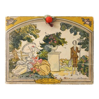 French Art Deco 1920s Chocolate Box From Boissier With Benito Illustration For Sale