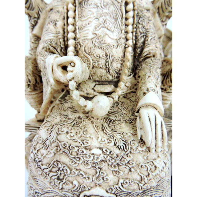 Ivory Vintage Chinese Faux Ivory Emperor and Empress Statues or Figures - a Pair, With Stands For Sale - Image 8 of 11