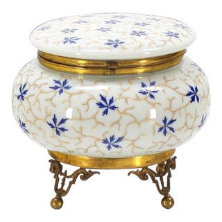Vintage Mid Century Enameled Painted Floral Pattern Art Glass Round Dresser Box For Sale