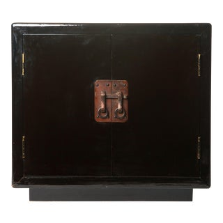 1980s Chinese Lawrence & Scott Lacquered Side Table Cabinet For Sale