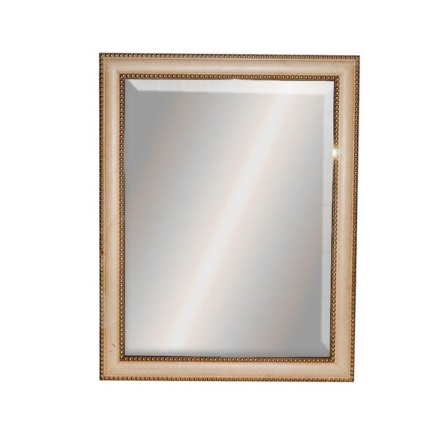 Contemporary Cream Crackle Finished Rectangular Wood Framed Wall Mirror For Sale
