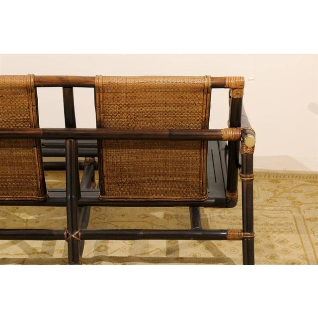 Brass Rare Restored Sofa by John Wisner for Ficks Reed- Four Available For Sale - Image 7 of 11