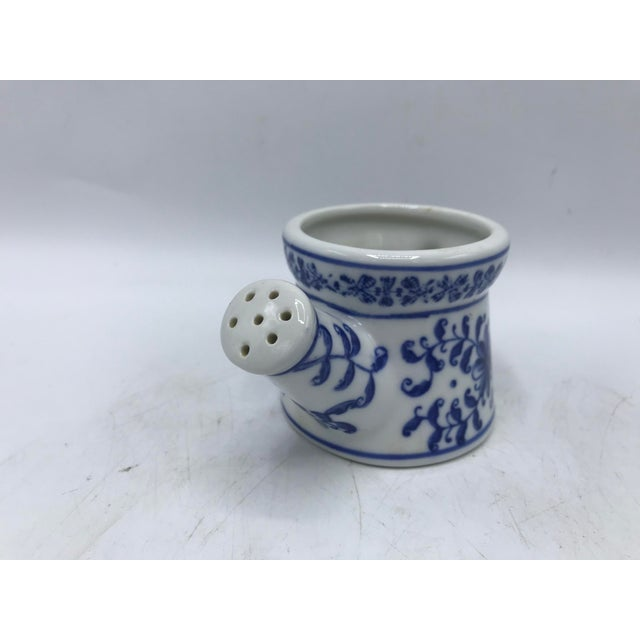 Asian Blue and White Porcelain Miniature Watering Can Sculpture For Sale - Image 3 of 7