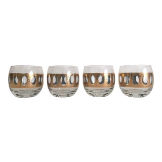 Mid-Century Gold Leaf Cocktail Glasses - Set of 4 For Sale