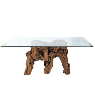 Vintage Glass Top Cypress Tree Root Dining Table For Sale