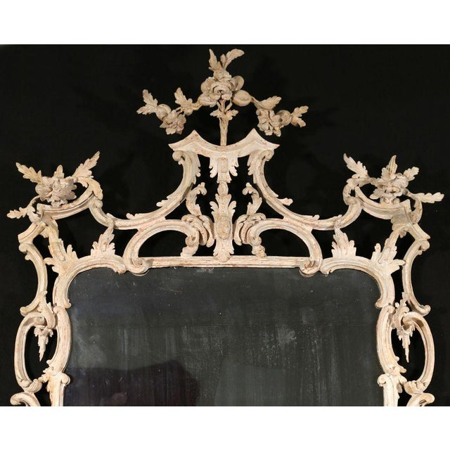 Georgian George III White Painted Rococo Mirror For Sale - Image 3 of 4
