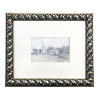 19th Century English Graphite Landscape Drawing of Pevensey Castle Ruins 1855 For Sale