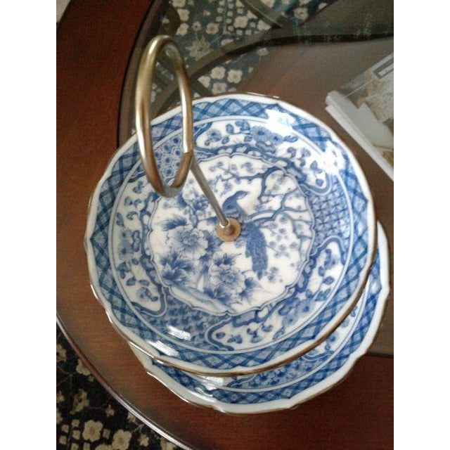 Asian Vintage Oriental Blue Peacock Dessert Tray For Sale - Image 3 of 4