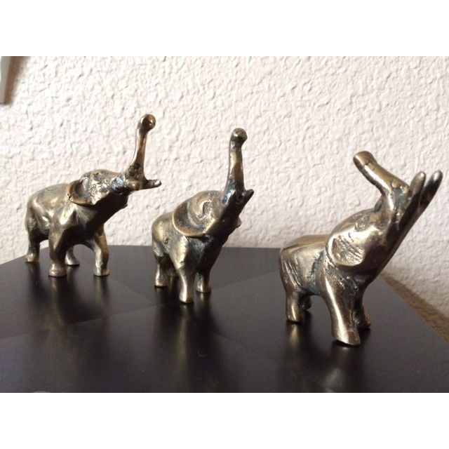 Vintage Brass Elephants - Set of 3 - Image 4 of 5
