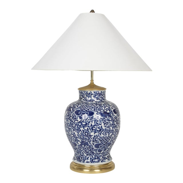 19th Century Chinese Blue & White Porcelain Vase now a Lamp For Sale