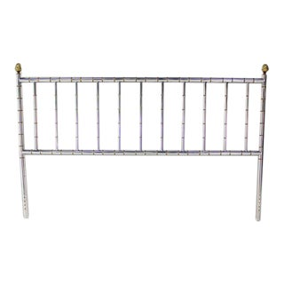 Mid-Century Modern Mastercraft Style Chrome and Brass King-Size Headboard For Sale