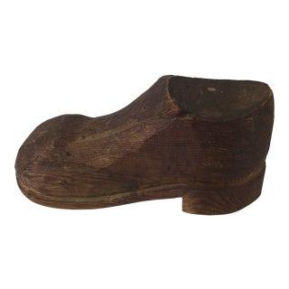 Wooden Children's Shoe Figurine For Sale