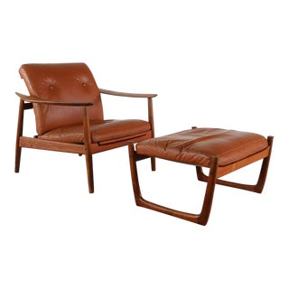 Mid Century Peter Hvidt Orla Molgaard-Nielsen for France and Son Chair and Ottoman For Sale