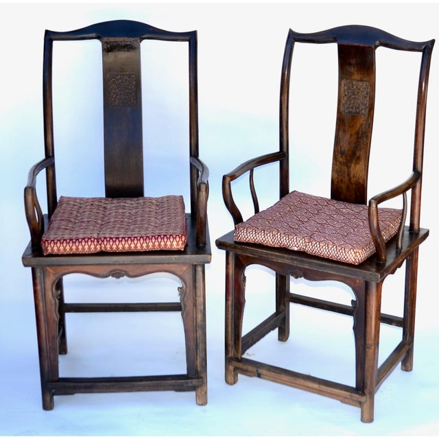 Green Antique Pair Tall Chinese Scholar Chairs For Sale - Image 8 of 12
