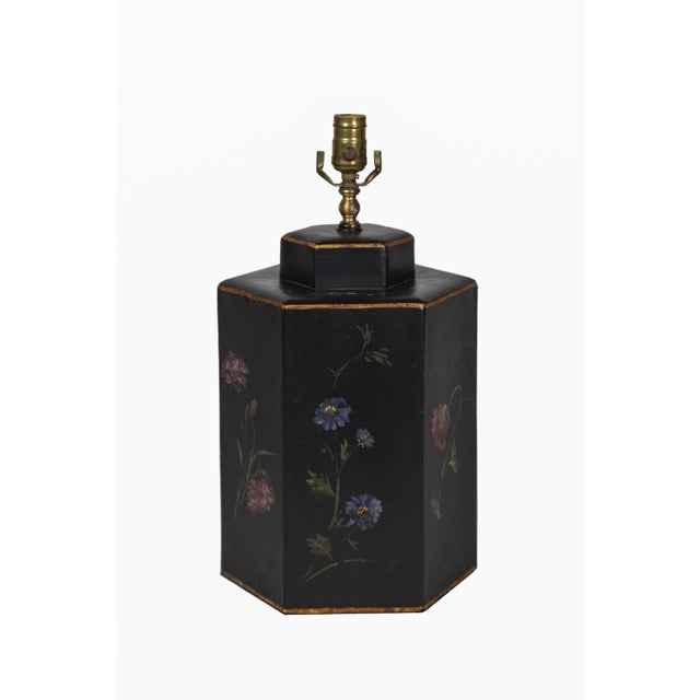 Black Vintage English Export Floral Style Tea Caddy Lamp For Sale - Image 8 of 8