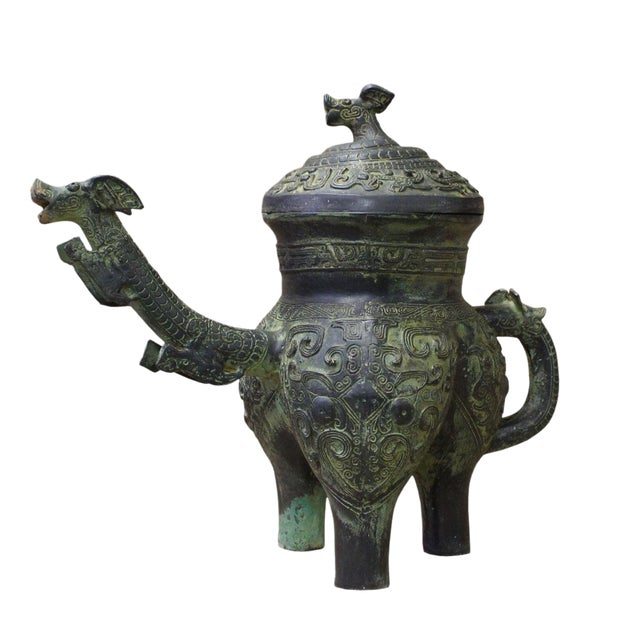 Chinese Oriental Green Bronze-Ware Display Decor For Sale
