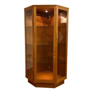 Komfort Danish Teak and Glass Lighted Corner Display Unit For Sale