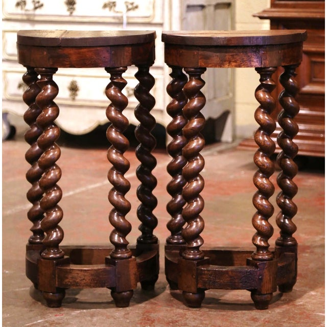 Crafted in the Perigord region of France circa 1850 and shape as half moon, each table stands on four elegant barley twist...