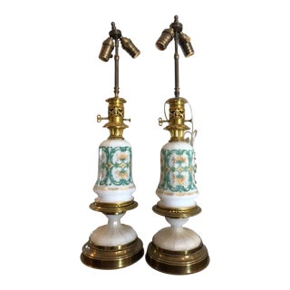 Pair of Antique White Opaline Glass Oil Lamps For Sale
