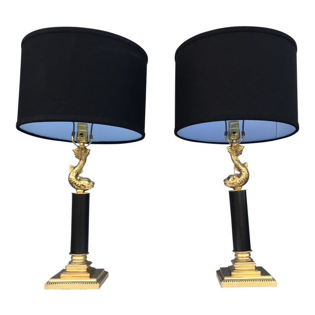Brass coy fish table lamps a pair chairish brass coy fish table lamps a pair aloadofball Image collections
