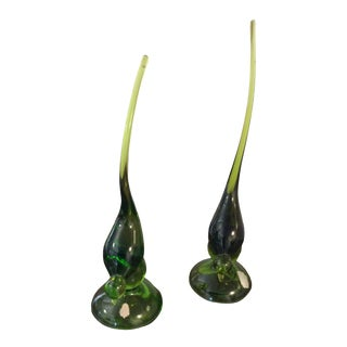 Vintage Viking Green Glass Long Tailed Birds - a Pair For Sale