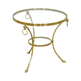 Regency Directoire Style Quality Brass & Glass Rams Head Hoof Foot Round Gueridon Side Table For Sale