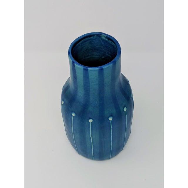 Jonathan Adler Inspired Handmade Mid-Century Modern Stripped and Dotted Blue Vase For Sale - Image 11 of 12