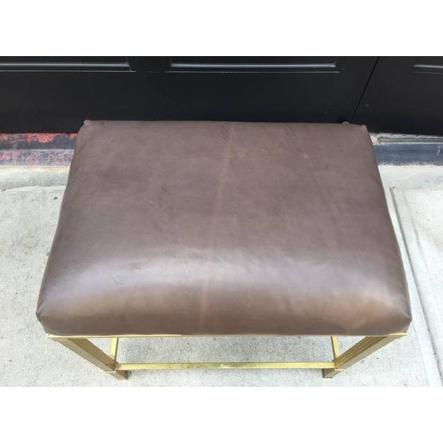 French Brass Directoire Style Bench with Leather Seat For Sale - Image 3 of 4