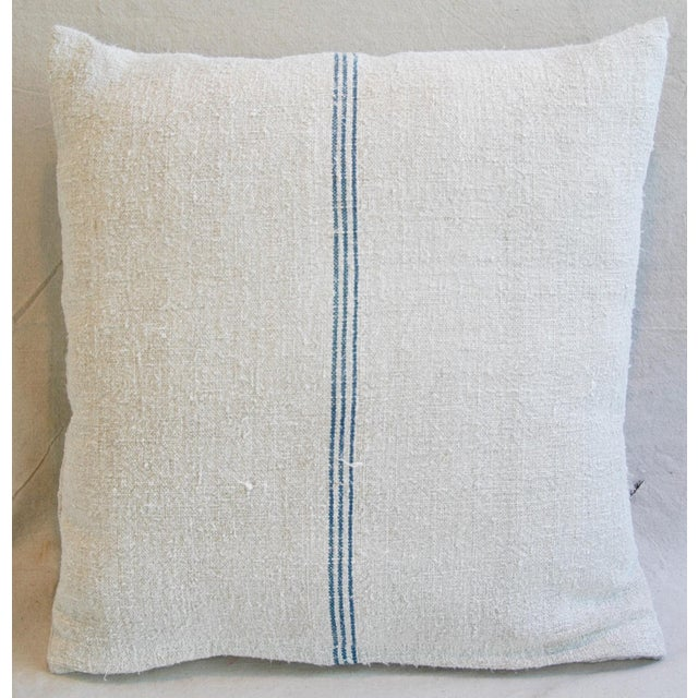 Custom French Grain Sack Down & Feather Pillows - Pair - Image 4 of 9