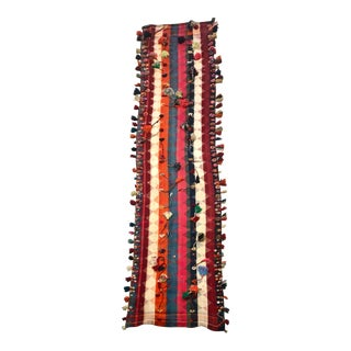 """1960s Vintage Moroccan Hand Woven Rug-3'x13"""" For Sale"""