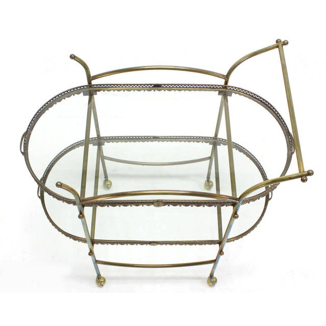 Two-Tier Brass Serving Cart Table with Removable Trays For Sale In New York - Image 6 of 10