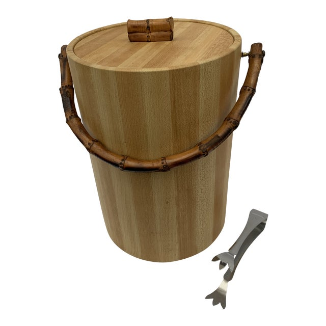 MCM Vinyl and Bamboo Ice Bucket Set For Sale